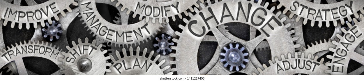 Large group of tooth wheels with Change, Management, Shift, Plan and Strategy concept related words imprinted on metal surface