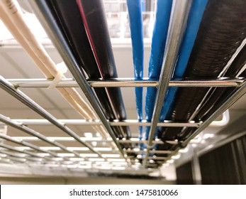 Large group of UTP cables, Ethernet cables and Fiber in cable tray.