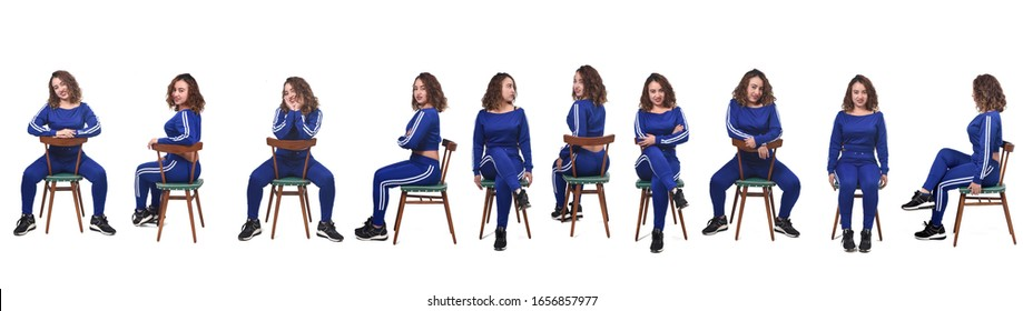 large group of a woman sitting on a chair in white background