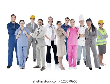 Large group of workers of different industries on white background