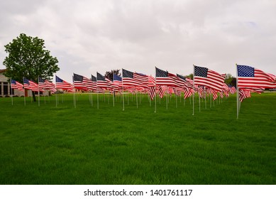 A large grouping of United States Flags display showing horror and support for Memorial Day.