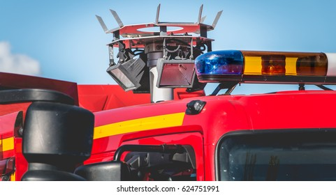 large halogen projector on a vehicle extrication of the firemen