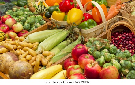 large harvest of fruits and vegetables