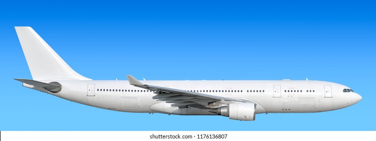 Large heavy modern wide body passenger twin jet engine airplane flying side panoramic detailed close up exterior view reference isolated on blue sky background air travel transportation theme