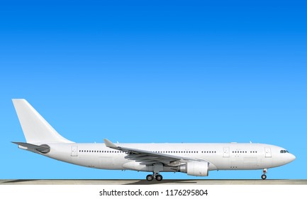 Large heavy modern wide body passenger twin jet engine airplane on runway side panoramic detailed close up exterior view reference isolated on blue sky background air travel transportation theme