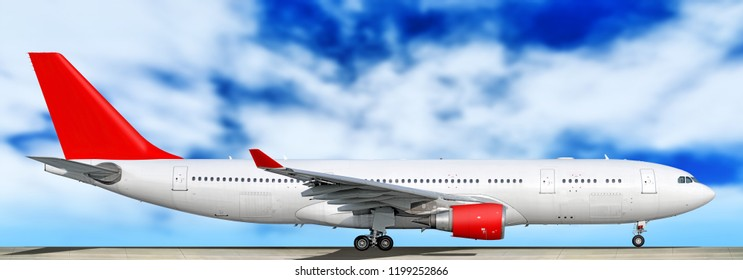 Large heavy modern wide body passenger twin jet engine airplane on runway side panoramic detailed close up exterior view reference isolated clouds sky background air travel transportation red theme