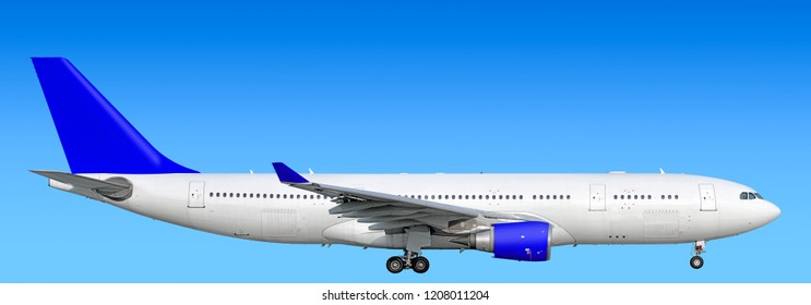 Large heavy modern wide body passenger twin jet engine airplane gear down side panoramic detailed close up exterior view reference isolated on blue sky background air travel transportation blue theme