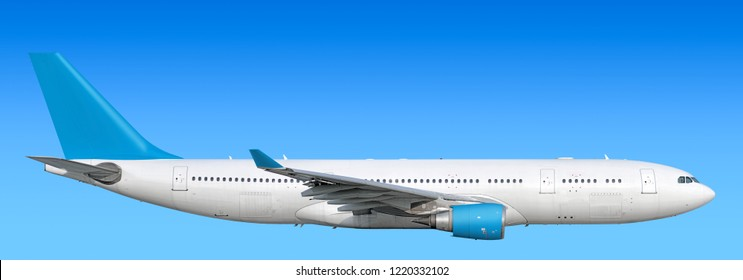 Large heavy modern wide body passenger twin jet engine airplane flying side panoramic detailed close up exterior view reference isolated on sky background air travel transportation light blue scheme