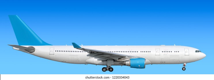 Large heavy modern wide body passenger twin jet engine airplane flying side panoramic close up exterior gear down view reference isolated on sky background air travel transportation light blue scheme