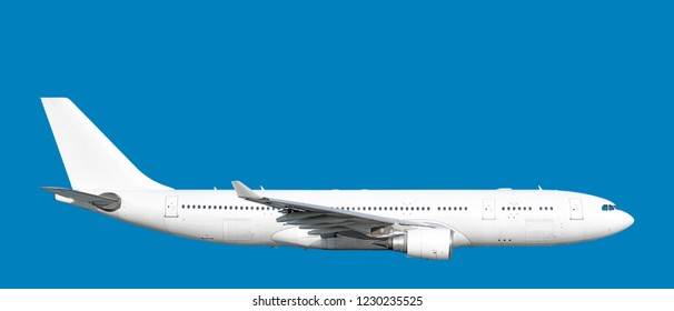 Large heavy modern wide body passenger twin jet engine airplane flying side panoramic close up exterior gear up view reference isolated on blue background air travel transportation white theme