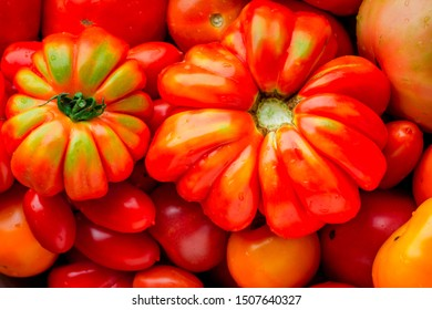 Large heirloom tomatoes close up. Selective focus. Healthy food.