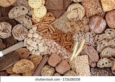 Large high fibre health food of pasta, cereals & bread also high in minerals, vitamins, smart carbs & has a low GI levels. Lowers blood pressure & cholesterol and manages diabetes. Flat lay.
