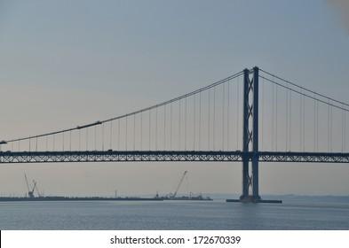 large high suspension bridge at the sea in scotland
