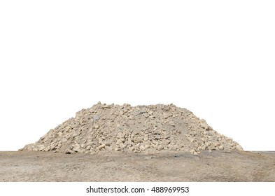 Large hill of dirt soil at construction site isolated on white background