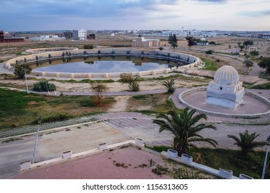 Large historical water reservoirs called Aghlabid basins in ancient Kairouan city, Tunisia
