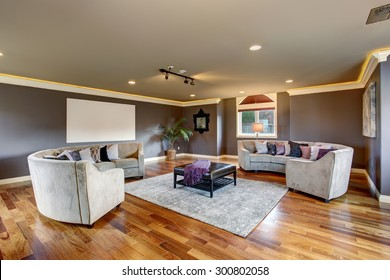 Large home theater room with projection unit and gray sofas.
