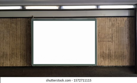 Large Horizontal  White Blank Advertisement Billboard Banner Sign On Metro Station.Mock Up Isolated Template Clipping Path