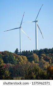 Large horizontal wind turbines in forest