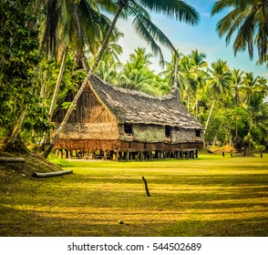 Large house made of straw and wood surrounded by greenery in Palembe, Sepik river in Papua New Guinea. In this region, one can only meet people from isolated local tribes.