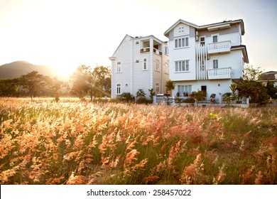 large house on a beautiful field in the mountains on the sunset, card