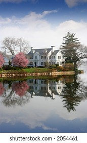 Large house on water front property