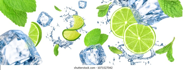 Large HQ background with lime, ice cubes, mint and water splash.
