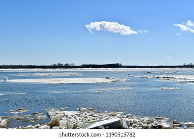 A large ice floe separately floating on the river in the spring during thawing.