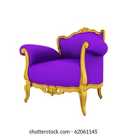 Large image Resolution of Classic glossy purple armchair with golden details, isolated on a white background