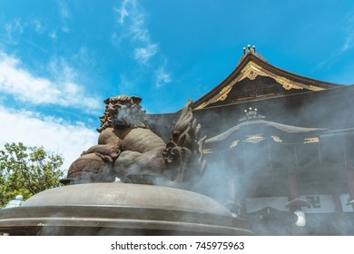 The Large incense lamp and main hall of Zenko-ji temple