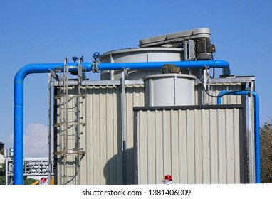 Large industrial air conditioning system with vents and fan towers