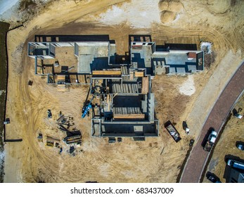 large industrial Building under construction Aerial top view shot In Florida, USA