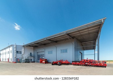 Large industrial building, view from the outside. Industrial architecture.