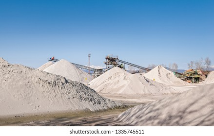 Large industrial complex for sorting gravel. Mining industry.