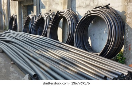 Large industrial PVC plastic pipes and tubes