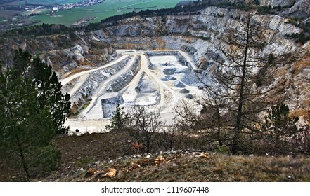 Large industrial quarry in the valley