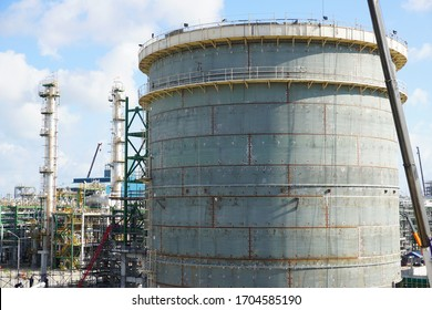 Large industrial tanks or spherical tanks under construction for petrochemical plant, oil and gas fuel or water in refinery or power plant for industrial plant.