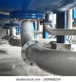 Large industrial water treatment and boiler room. Bottom of large pressure vessels