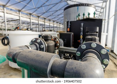 Large industrial water treatment and boiler system in a greenhouse with many pipes and valves
