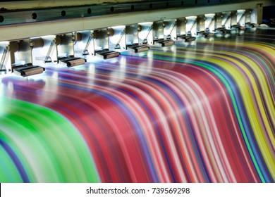 Large Inkjet printer working multicolor rgb on vinyl banner