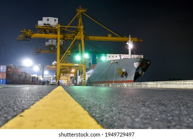 Large intercontinental cargo ship While parking the cargo at the port
