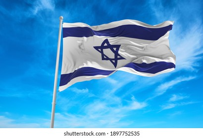 Large Israel flag waving in the wind