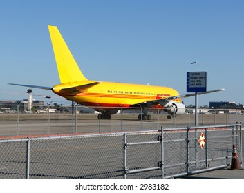 Large Jet Aircraft Taxis at Long Beach, California Airport