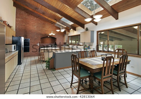 Large Kitchen Ceiling Wood Beams | Objects, Interiors Stock ...
