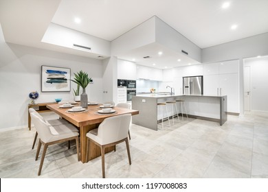 Large kitchen and dining areas in modern Australian home with luxury finishings. Perth, Western Australia. Photographed: September, 2018.
