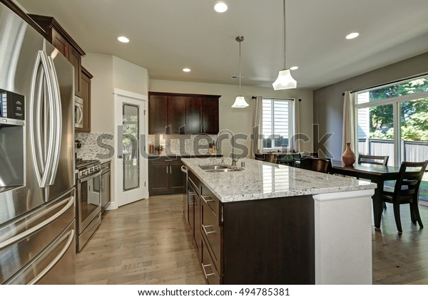 Large Kitchen Island Granite Counter Top Stock Photo Edit