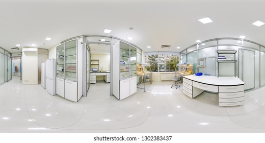 A large laboratory room Panorama 360 where study of their DNA and RNA panoramas 360 place inside the research laboratory of a pharmaceutical corporation scientists and doctors at the Institute