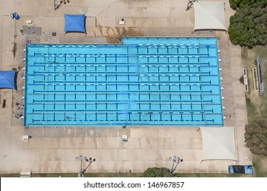 Large Lap sized swimming pool viewed from overhead