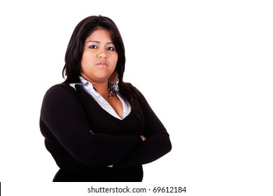 large  latin woman angry, isolated on  white studio shot