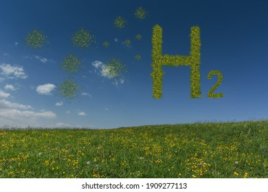 large letters with grass hydrogen h2 on blue sky and green spots and sky