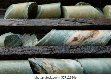 a large library of drilled core samples used by geologists to determine ore quantity and quality
